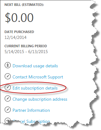 how to change windows azure subscription
