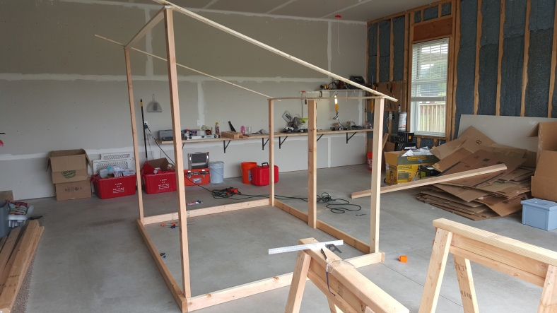 Early framing in the garage