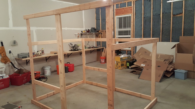 More framing in the garage.  At this point it was starting to get heavy enough that I was worried about being able to move it outside!
