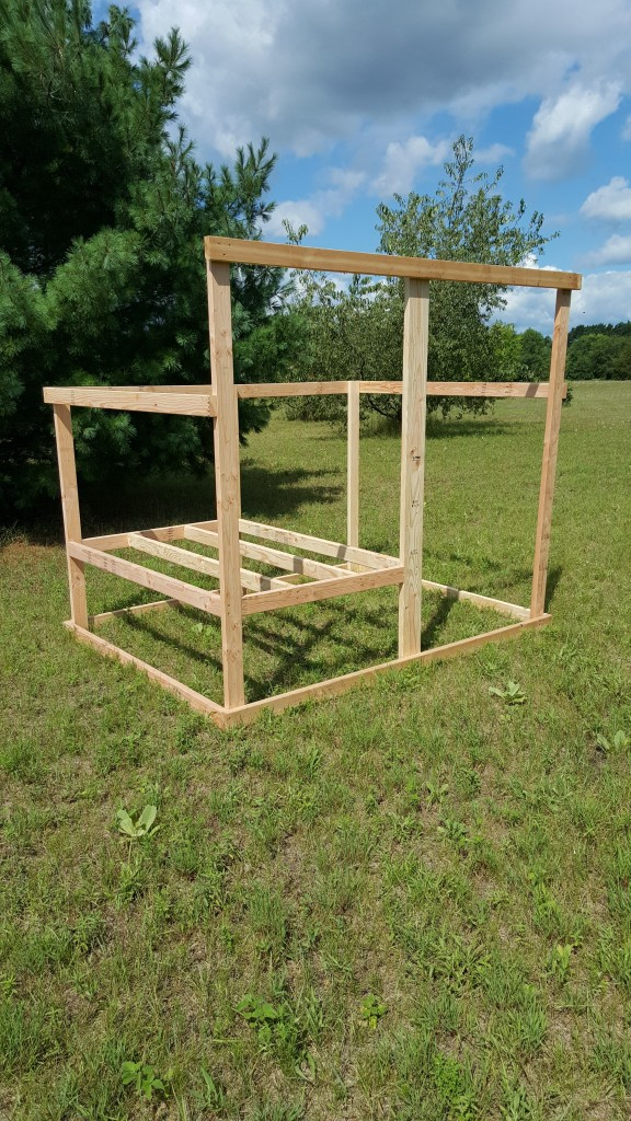 Move outside and framed in the floor of the enclosed area where the chickens will sleep